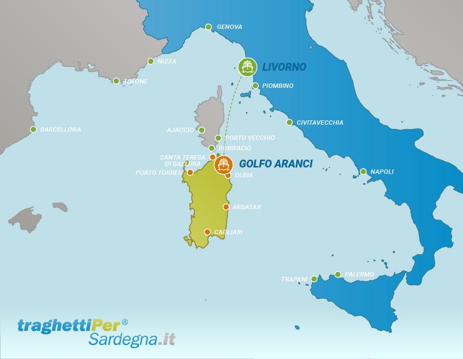 Fahren von Livorno nach Golfo Aranci