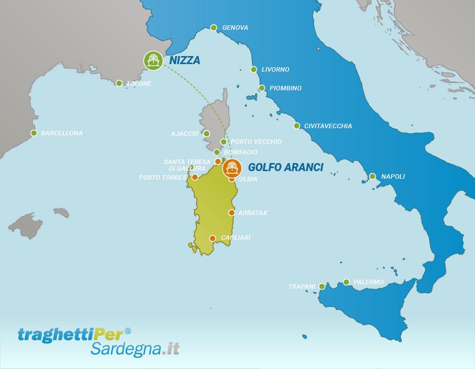 Fahren von Nizza nach Golfo Aranci