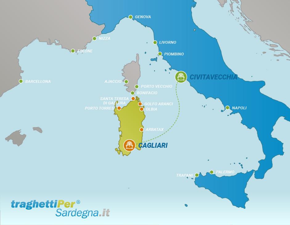 Route from Civitavecchia to Cagliari