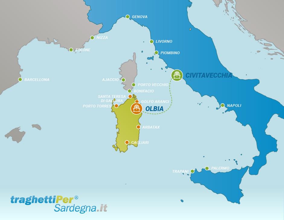 Route from Civitavecchia to Olbia