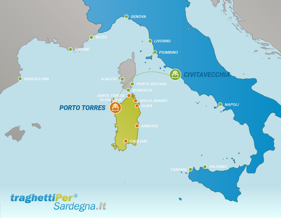 Route from Civitavecchia to Porto Torres