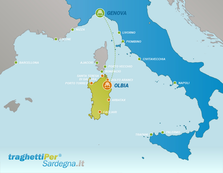 Route from Genova to Olbia