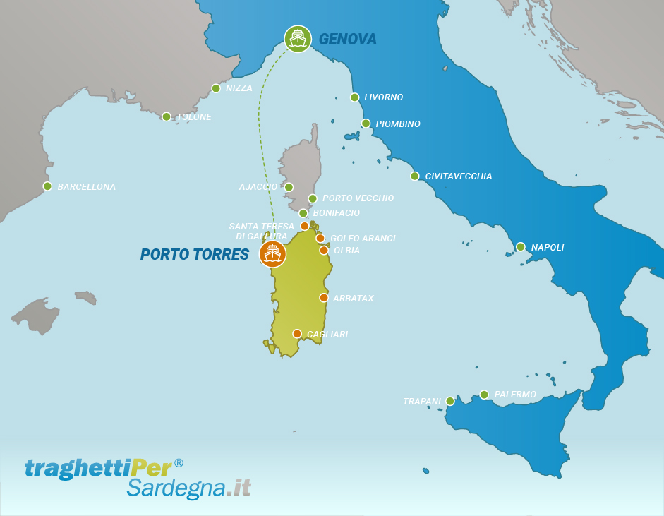 Route from Genova to Porto Torres