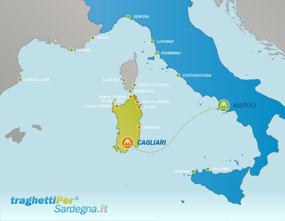 Route from Napoli to Cagliari