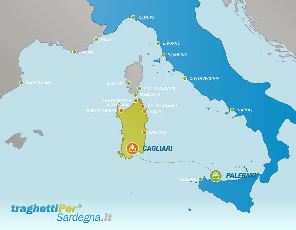 Route from Palermo to Cagliari