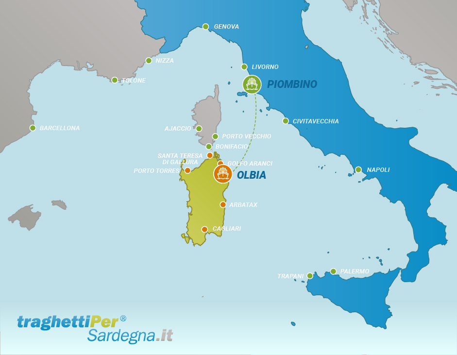 Route from Piombino to Olbia