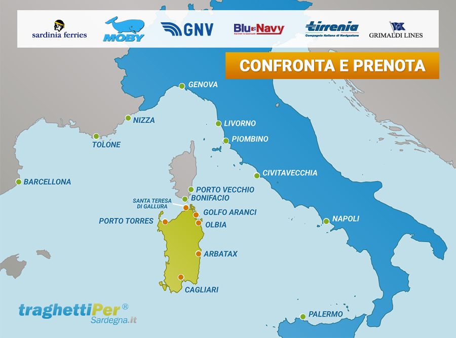 La mappa dei Porti e dei Traghetti per la Sardegna - TraghettiPer
