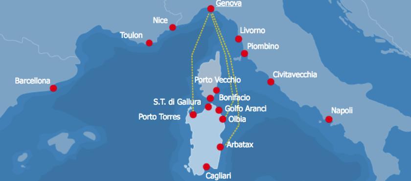 le tratte dei traghetti da Genova alla Sardegna
