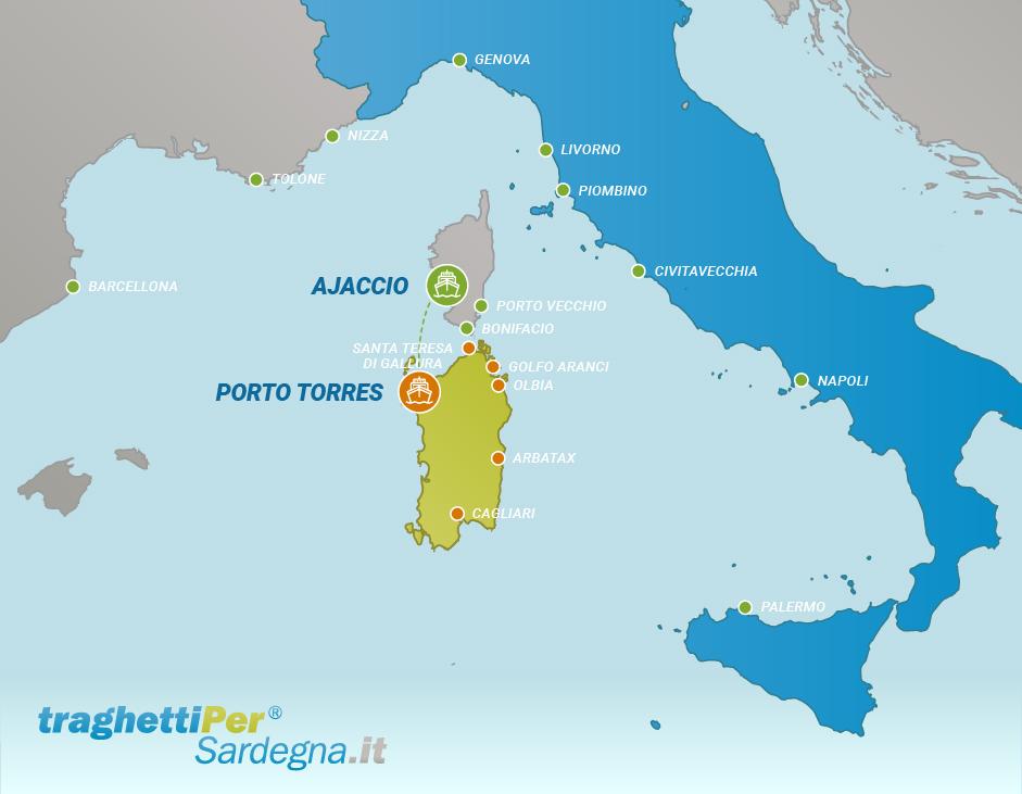 Tratta traghetto da Ajaccio a Porto Torres