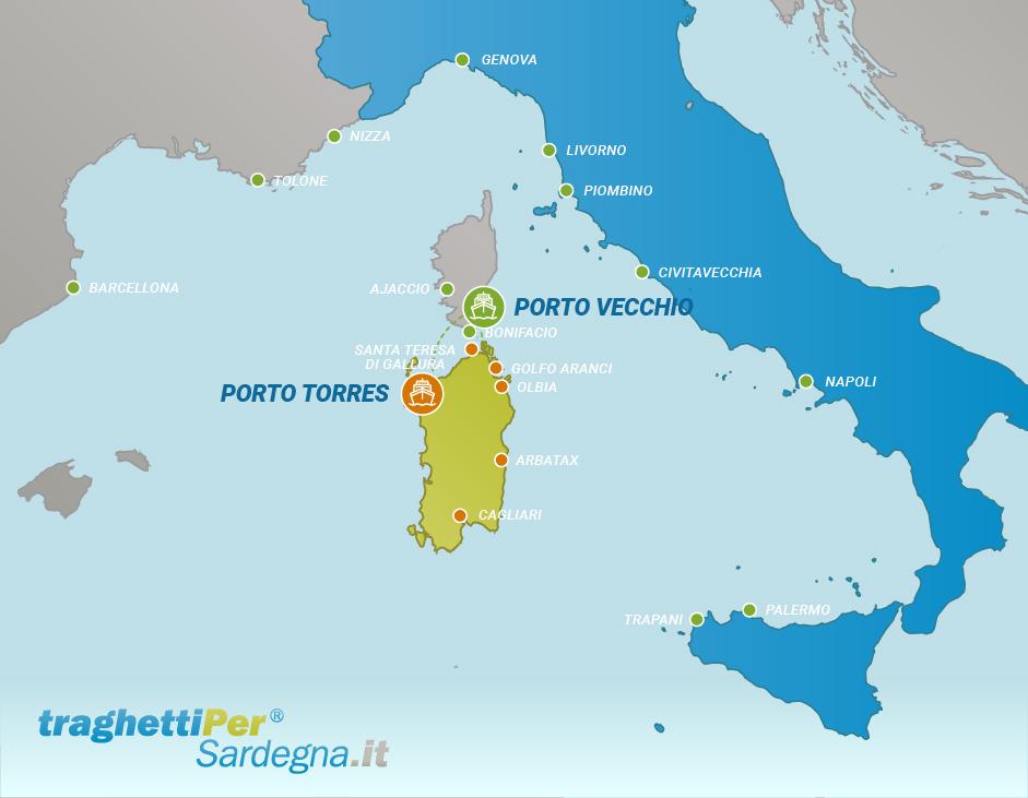 Tratta traghetto da Porto Vecchio a Porto Torres