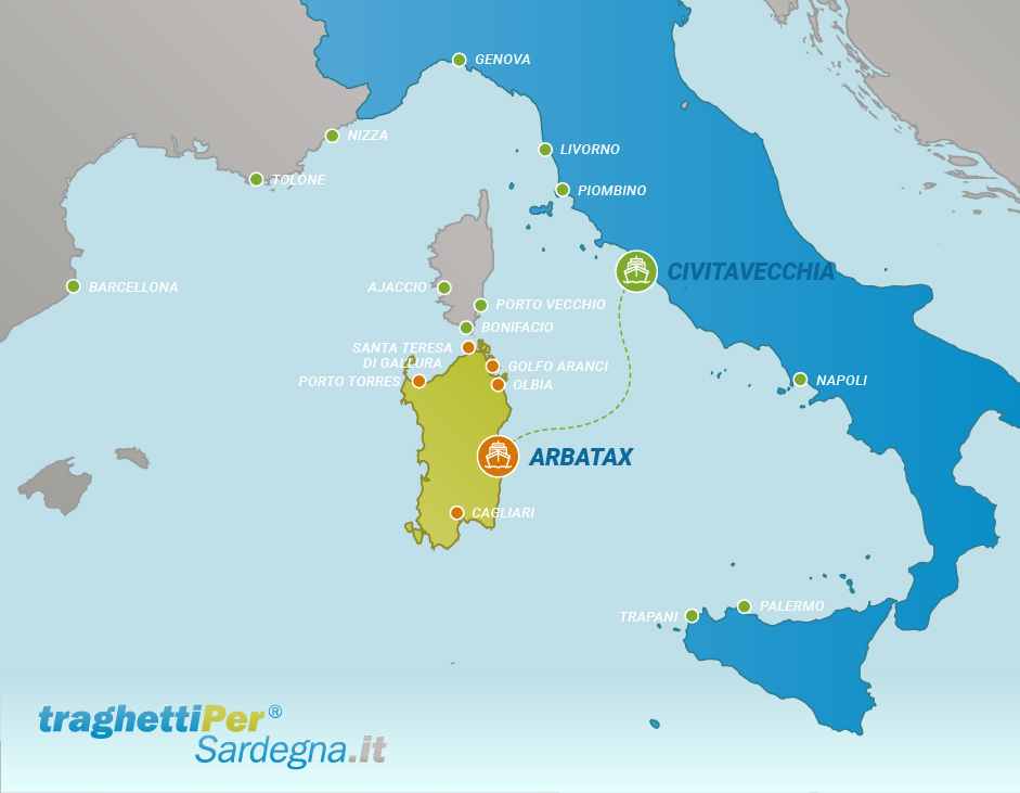 Tratta traghetto da Civitavecchia a Arbatax