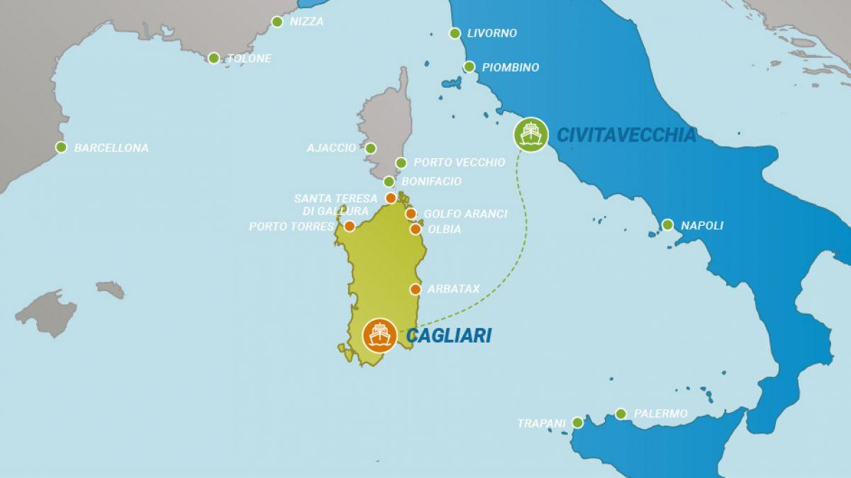 Arbatax Cartina Geografica.Tratta Traghetti Da Civitavecchia A Cagliari Traghettiper Sardegna
