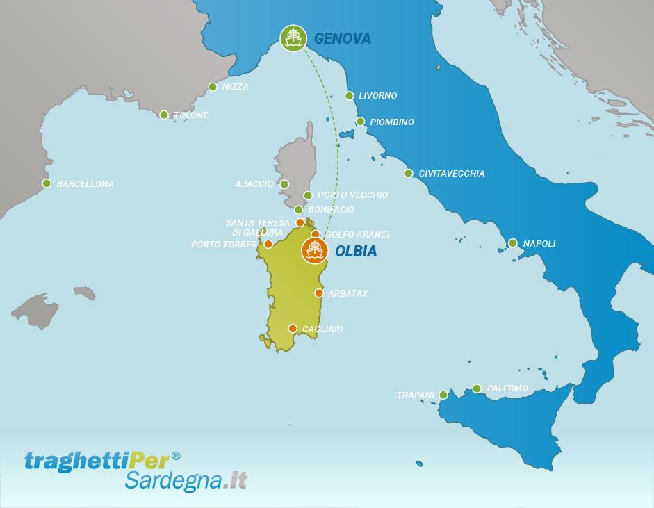 Tratta traghetto da Genova a Olbia