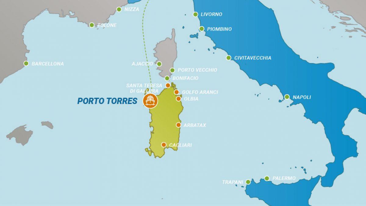 Cartina Sardegna Porto Torres.Tratta Traghetti Da Genova A Porto Torres Traghettiper Sardegna