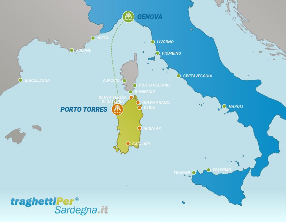 Tratta traghetto da Genova a Porto Torres