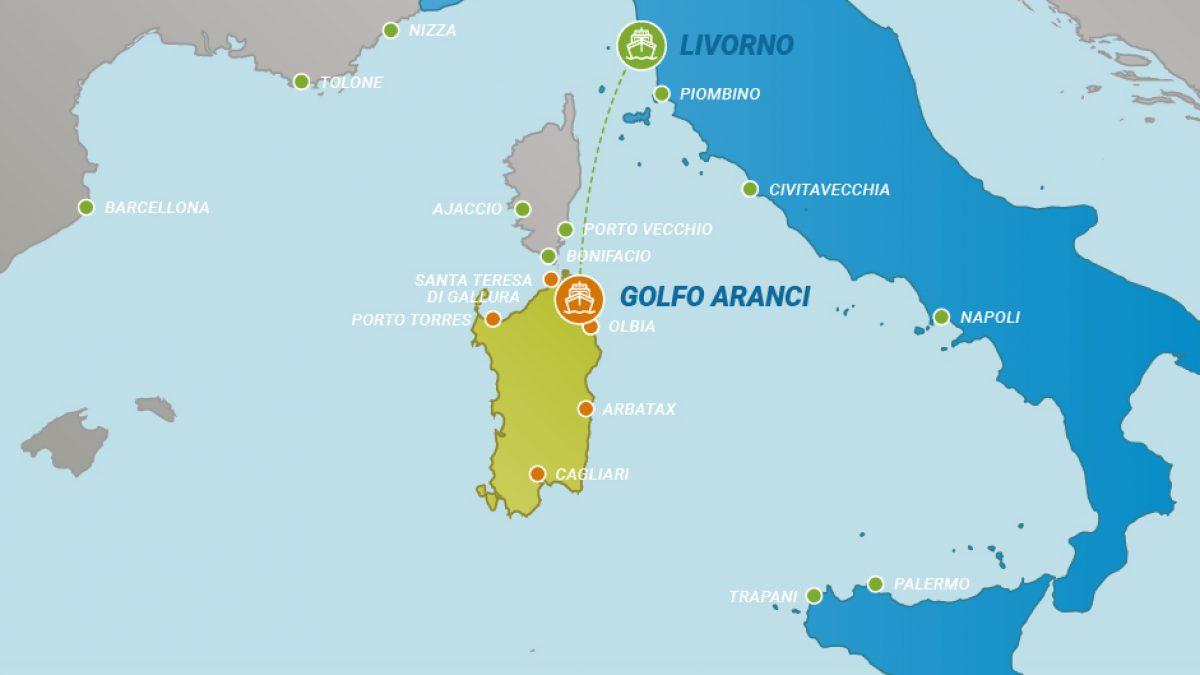 Cartina Sardegna Golfo Aranci.Tratta Traghetti Veloci Per Golfo Aranci Da Livorno