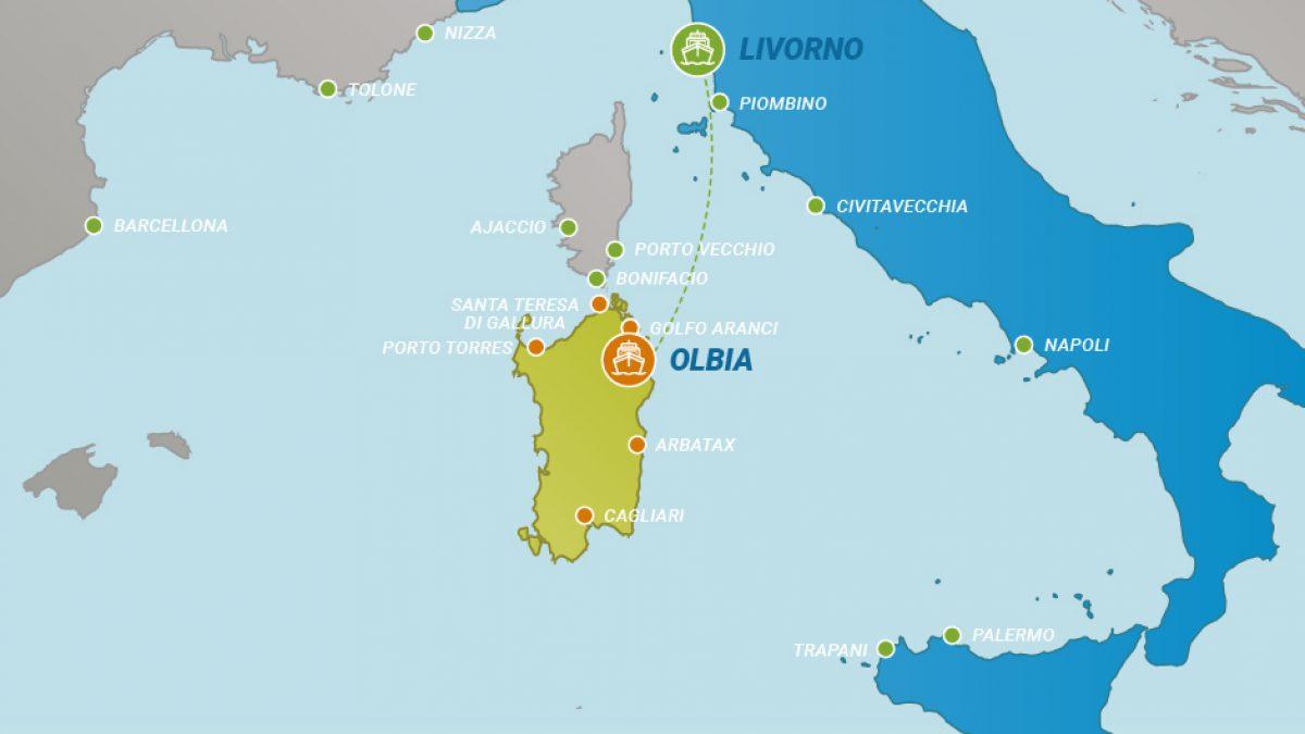 Cartina Sardegna Vicino Olbia.Tratta Traghetti Da Livorno A Olbia Traghettiper Sardegna