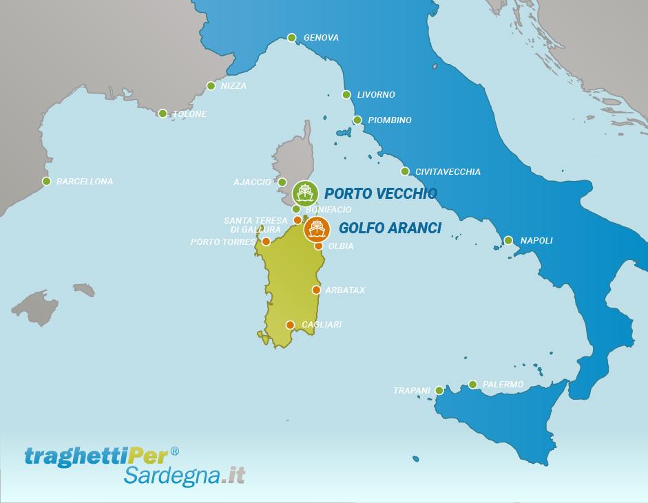 Tratta traghetti da Porto Vecchio a Golfo Aranci